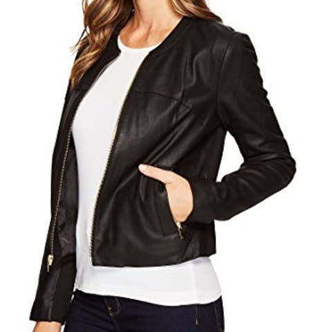 Via Spiga Women's Jacket Deep Black Size Small S Collarless Leather