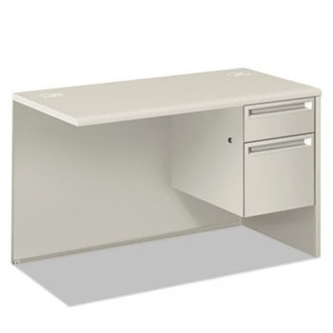 38000 Series Return Pedestal, Box/File, 26.38Wx50.38Dx31.38H, Right,Silver/Lt Gy