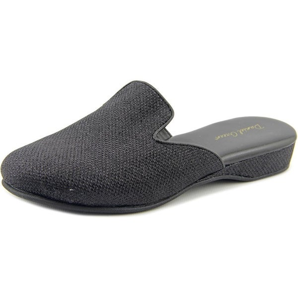 Comfy by Daniel Green Harriet Women Open Toe Canvas Black Slides Sandal