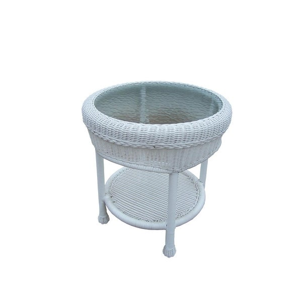 2225 Bright White Two Level Resin Wicker End Table with Glass Top