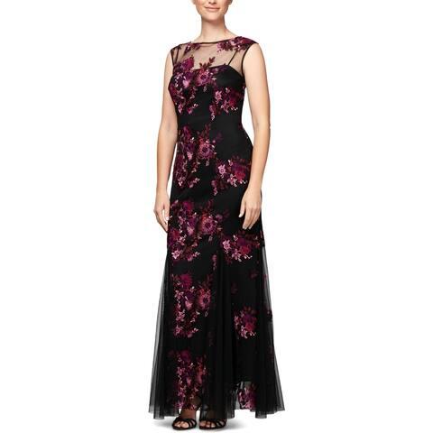 Alex Evenings Womens Petites Evening Dress Lace Floral Print - 12P