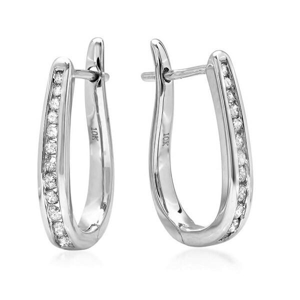 Amanda Rose AGS Certified 10K White Gold Flip Back Diamond Hoop Earrings ( 1/4ct tw) - White J-K