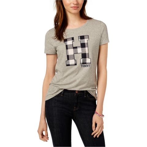 Tommy Hilfiger Womens Plaid Logo Embellished T-Shirt, Grey, Large