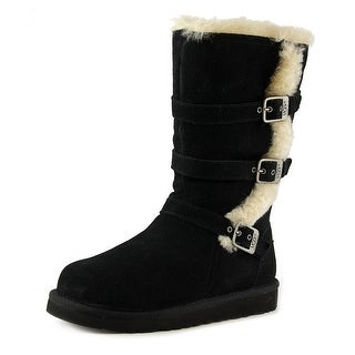 Ugg Australia Maddi Youth Round Toe Suede Black Winter Boot