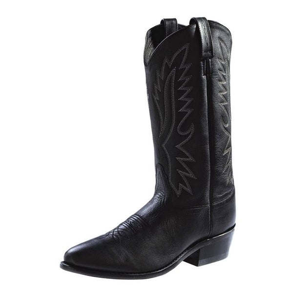 Old West Cowboy Boots Mens Polanil Leather Round Black