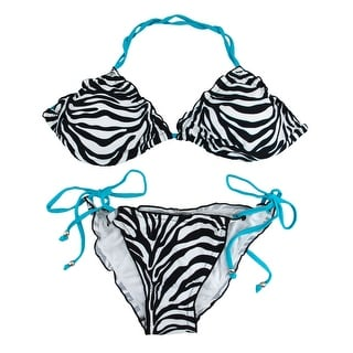 Black / White Zebra Striped Bikini Turquoise Blue Strings