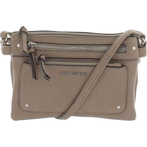 Max Studio Womens Crossbody Handbag Faux Leather Adjustable - Mushroom - Small