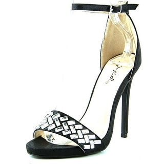 Qupid Glee 49 Women Open-Toe Canvas Black Heels
