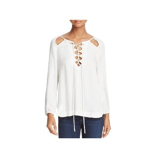 Ella Moss Womens Stella Pullover Top Woven Lace Up
