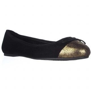Delman Blake Toe Cap Ballet Flats - Black
