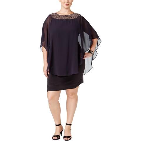 Xscape Womens Capelet Dress Chiffon Embellished