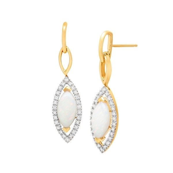 1 1/2 ct Natural Opal Earrings with 1/6 ct Diamonds in 14K Gold