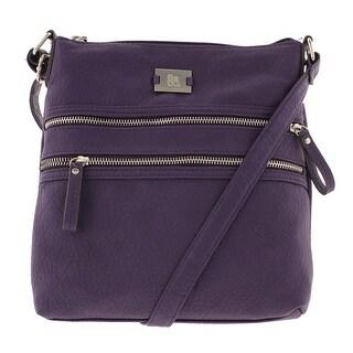 Style & Co. Womens Veronica Faux Leather Adjustable Crossbody Handbag - Poppy - Medium