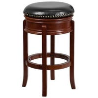 Offex 29'' Backless Light Cherry Wood Backless Design Barstool with Black Leather Swivel Seat