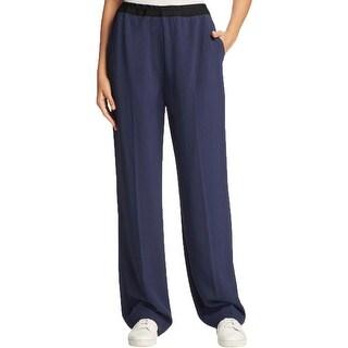 DKNY Womens Petites Casual Pants Wide Leg Elastic Waist