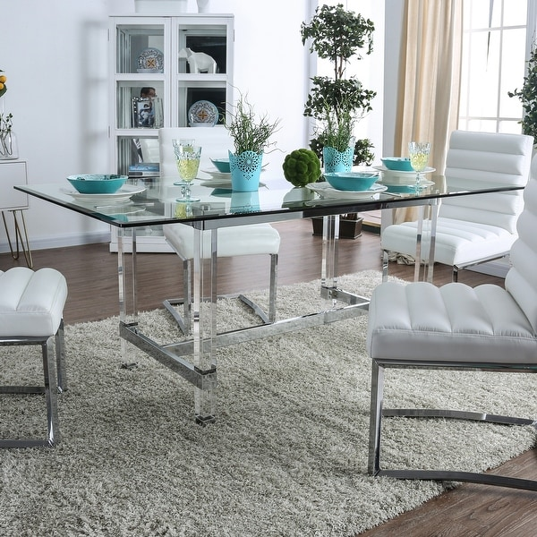 Silver Orchid Falconetti Acrylic and Glass Dining Table. Opens flyout.