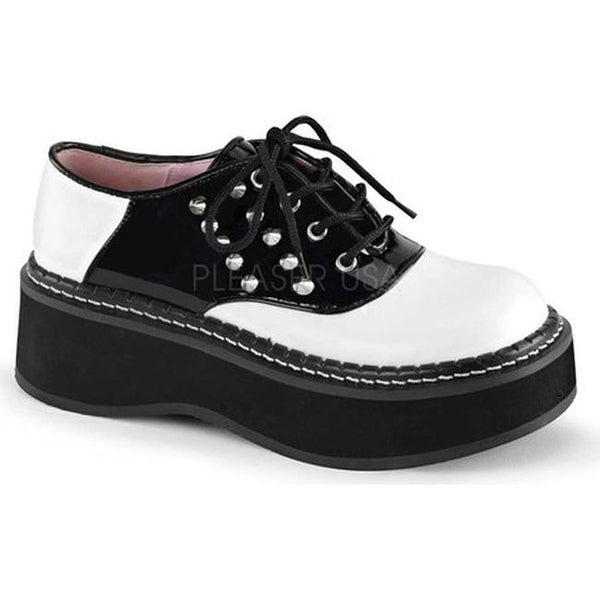 Demonia Women's Emily 303 Saddle Shoe White Vegan Leather/Black Patent