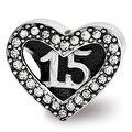 Sterling Silver Reflections Swarovski Elements Quinceanera Heart Bead (4mm Diameter Hole) - Thumbnail 0