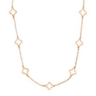 Marie Claire Clover Station Chain Necklace in 18K Rose Gold-Plated Brass - Pink