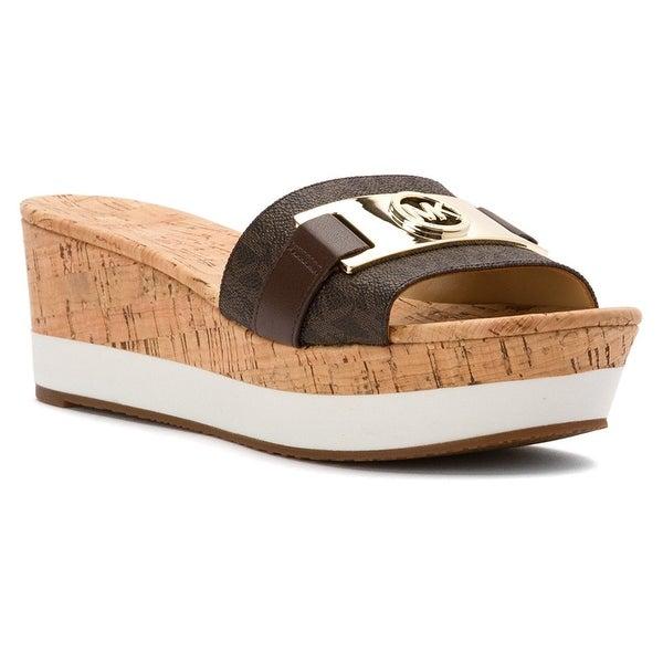 MICHAEL Michael Kors Womens WARREN PLATFORM Open Toe Casual Slide Sandals