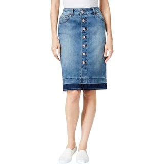 Jag Jeans Womens Hazel Denim Skirt Released Hem Button Front