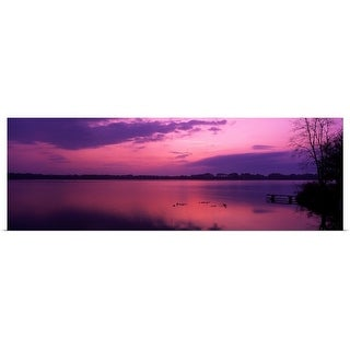 Panoramic Images Poster Print entitled Early morning view at Lake Whippoorwill seen from Koa Campground near Orlando,