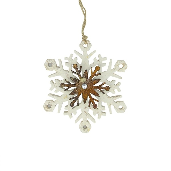 "6.75"" White and Brown Country Rustic Snowflake Christmas Ornament"