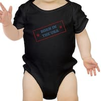 Born In The USA Black Baby Bodysuit Cotton Snap On First 4th Of July