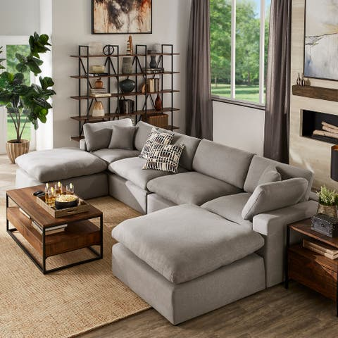 Anka Grey Linen Down Filled Cushioned U-Shaped Sectional Sofa with Two Ottomans by iNSPIRE Q Modern