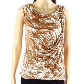 Classiques Entier NEW Brown Womens Size XS Drape-Neck Print Tank Blouse