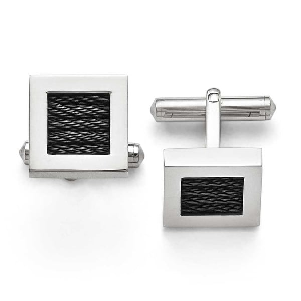 Chisel Titanium Polished Black IP Wire Cuff Links