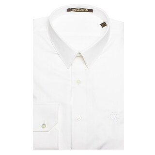 Roberto Cavalli Men's Point Collar Striped Cotton Dress Shirt White