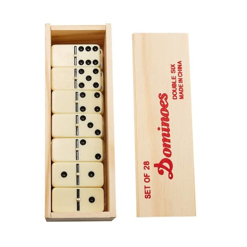 Classic Dominoes 28 Piece Set, Double-Six Ivory Tiles in Wooden Storage Case