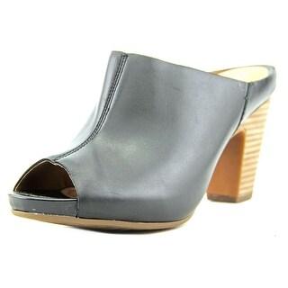 Clarks Okena Chic Women Peep-Toe Leather Black Mules