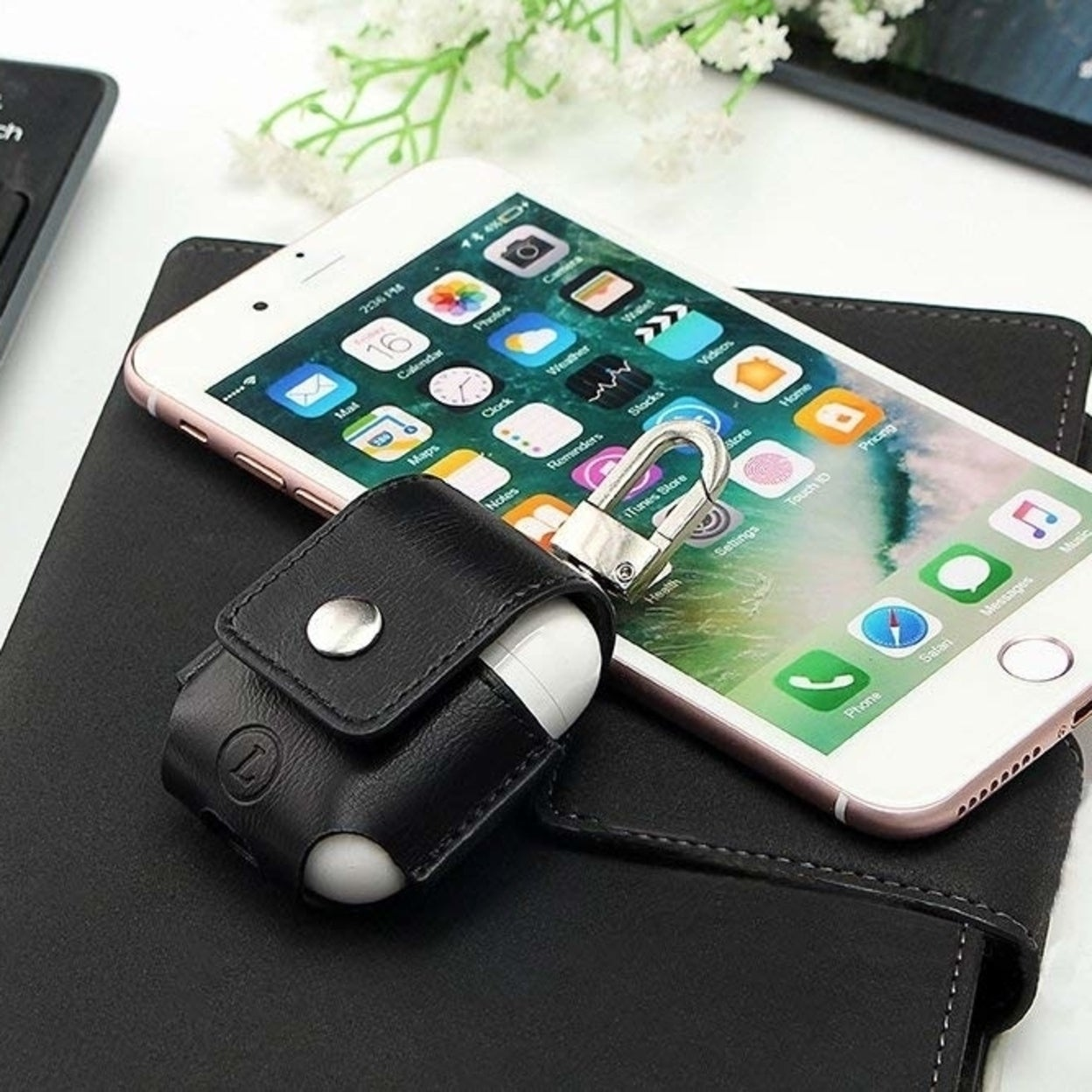 online store 10b7c 7f953 AirPods Anti-lost Leather Protective Cover for Apple AirPods Charging Case