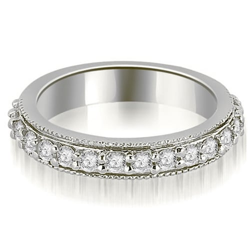 0.80 cttw. 14K White Gold Round Cut Eternity Diamond Wedding Band
