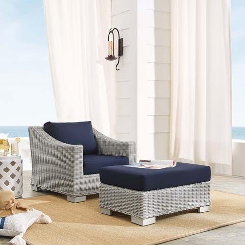 Conway Sunbrella® Outdoor Patio Wicker Rattan 2-Piece Armchair and Ottoman Set