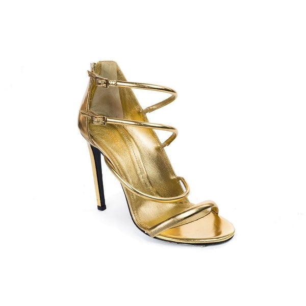Roberto Cavalli Womens Gold Leather Multi Strap Heels