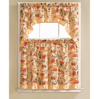 Hilda Embroidered 3-Piece Kitchen Curtain Swag & Tiers Set, Peach, 60x56 & 30x36