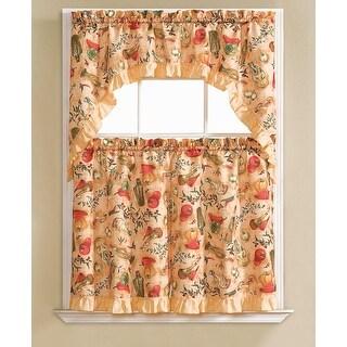 Hilda Embroidered 3-Piece Kitchen Curtain Swag & Tiers Set, Peach, 60x56 & 30x36