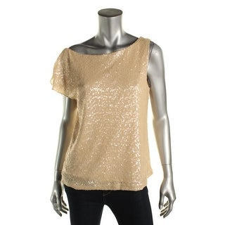 Zara Womens Sequined Cap Sleeves Blouse - L
