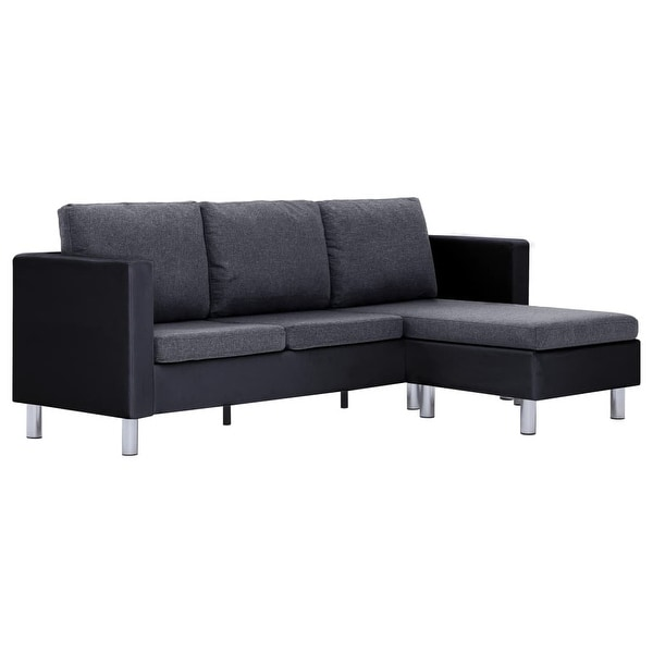 vidaXL 3-Seater Sofa with Cushions Black Faux Leather. Opens flyout.