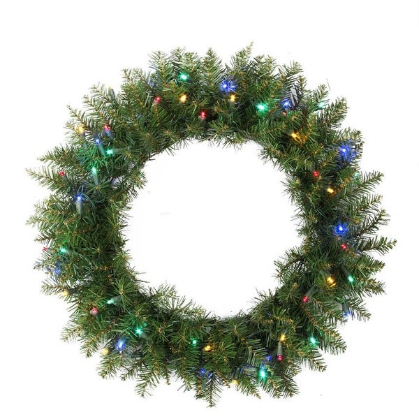 "24"" Pre-Lit Northern Pine Artificial Christmas Wreath - Multi-Color LED Lights - green"
