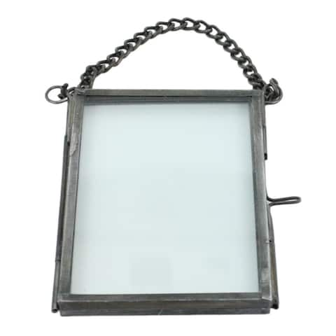 3.5 Inches Metal Ornament Frame with Chain Hanger, Gray