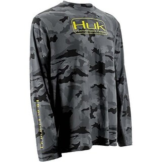 Huk Men's Camo Icon Black Camo Small Performance Long Sleeve Shirt