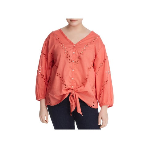 Lucky Brand Womens Plus Blouse Tie-Front Button-Down