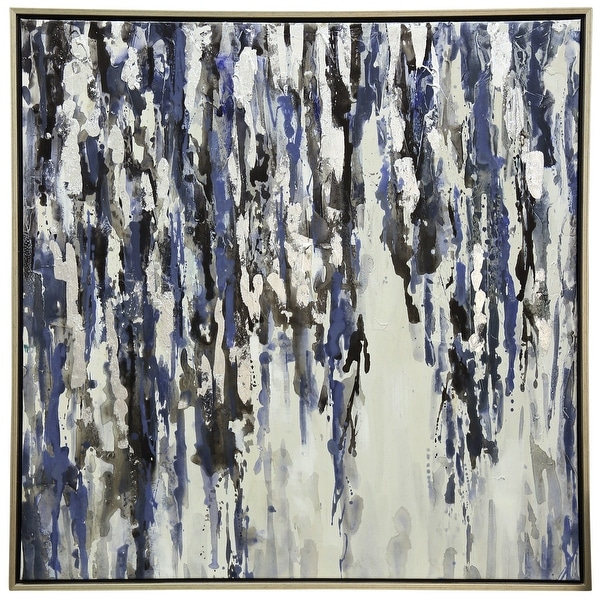 """StyleCraft SC-WI32956 40"""" x 40"""" Framed Hand Painted Abstract Textured Painting on Canvas - Drippy Blue"""
