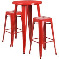 Brimmes 3pcs Round 24'' Red Metal Table w/2 Square Seat Backless Barstool