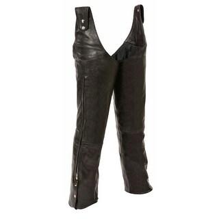 Mens Leather Beltless Adjustable Side Snap Chaps
