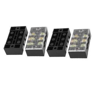 4 Pcs Double Row 3 Position Screw Terminal Block Strip Connector Black 600V 25A
